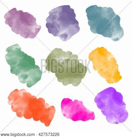 Collection Of Abstract Watercolor Organic Shape Blobs, Irregular Paint Stains Vector Illustration Is