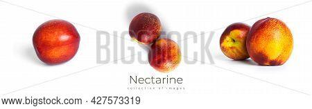 Nectarine Isolated On A White Background. Nectarine Fruit.