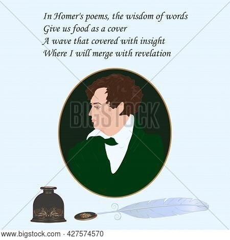 Poet Philosopher, Portrait In A Round Frame, Antique Inkwell, Quill Pen, Reflections Poems - Vector.