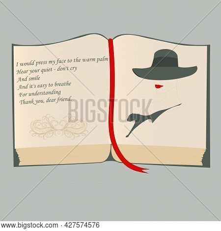 Book, Open Pages, Personal Diary, Poems About Sadness, The Image Of A Woman In A Hat - Vector. Liter