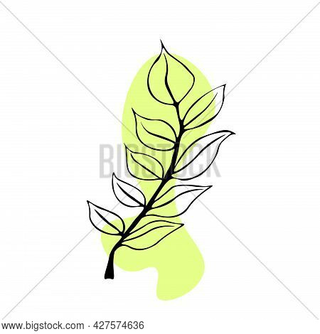 Bright, Beautiful Colored Spots With Twigs Of Leaves. Imitation Of Watercolor Spots. Vector Illustra