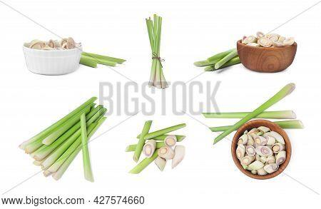 Set With Aromatic Fresh Lemongrass On White Background