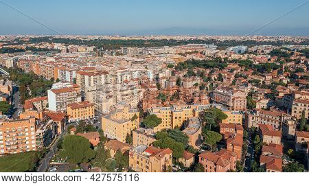 Typical Rome Cityscape Aerial Panorama, Italy. Residential Buildings With Orange Roofs.