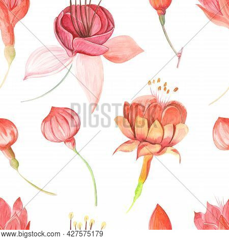 Seamless Raster Watercolor Pattern With Flowers Fuchsia And Leaves Close Up On A Colored Background