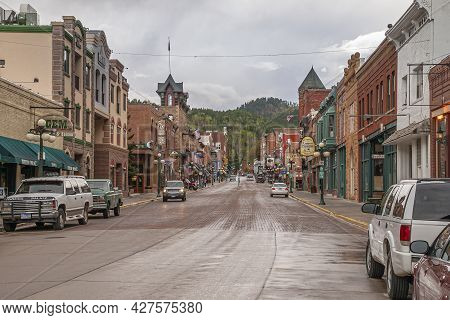 Deadwood Sd, Usa - May 31, 2008: Downtown Main Street. Looking South Shows Historic Business Buildin