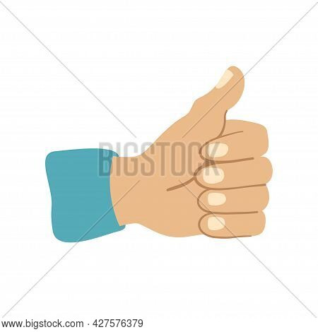 Man Hand With A Raised Thumb Isolated On White Background.