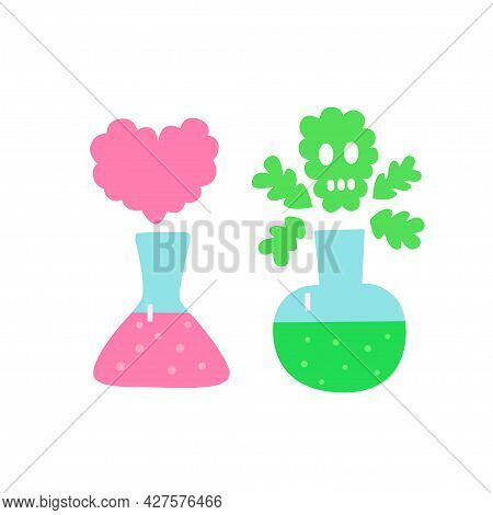 Two Flasks, Pink With Heart-shaped Smoke And Green With Skull-shaped Smoke Conceptual Illustration A