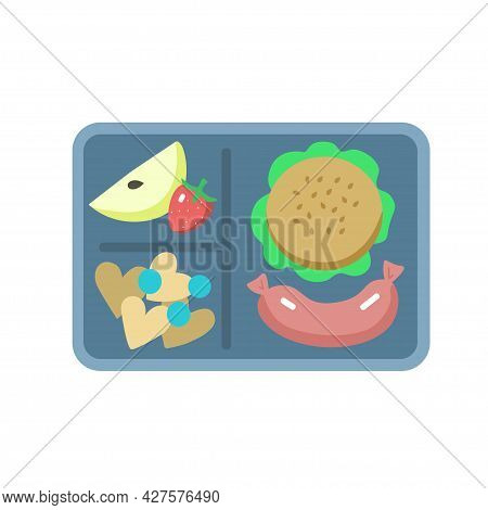 Lunchbox With Burger, Fruits, Cookies And Apple, Isolated On White Background.