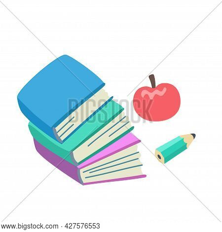 Stack Of Books, Pencil And Apple Isolated On White Background. Conceptual Minimalist Illustration On