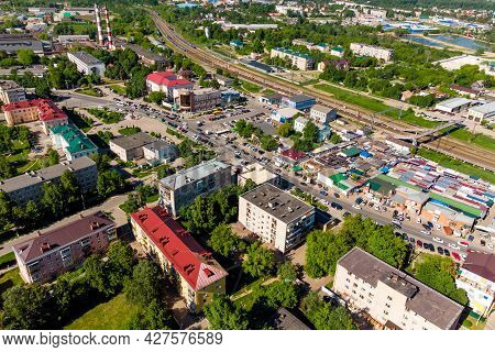 Aerial View Of The Train Station And Urban Development Of Balabanovo City, Russia - June 2021