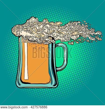 Foam Is Like A Wave On A Beer Glass Mug. Pub Or Restaurant