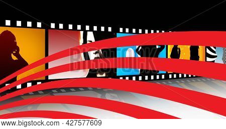Red wavy stripes over abstract pictures over film reel against black background. theatre and cinema entertainment concept
