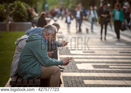Belgrade, Serbia - June 1, 2021: Selective Blur On A Middle Eastern Man, Arabic, A Tourist In Belgra