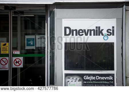 Ljubljana, Slovenia - June 14, 2021: Dnevnik.si Logo In Front Of The Headquarters Of The Journal. Fo