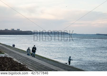 Belgrade, Serbia - January 2, 2021:  Old Senior Man And Woman, Couple, Wearing A Facemask, Waking In