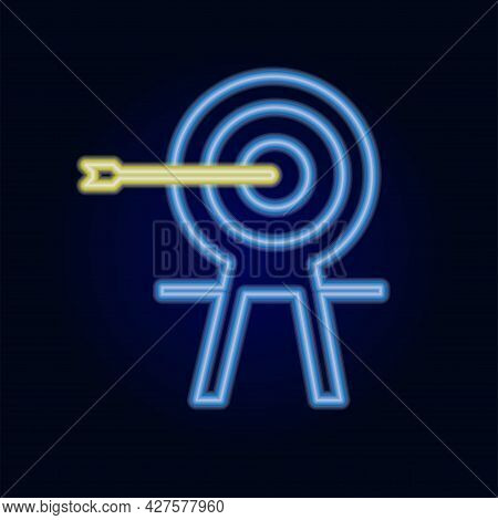 Target Neon Light Line Art Vector Icon. Outline Symbol Of Dartboard. Success Strategy Pictogram Made