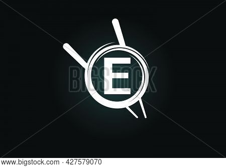 Initial E Monogram Alphabet In The Abstract Circle With Chopstick. Abstract Asian Sushi Bar Emblem.