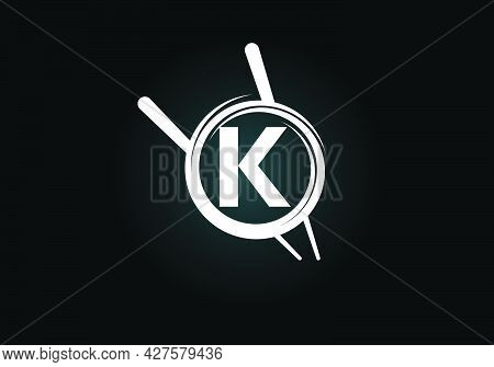 Initial K Monogram Alphabet In The Abstract Circle With Chopstick. Abstract Asian Sushi Bar Emblem.