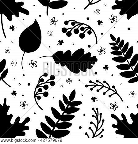 Seamless Pattern Of Black Leaves And Berries