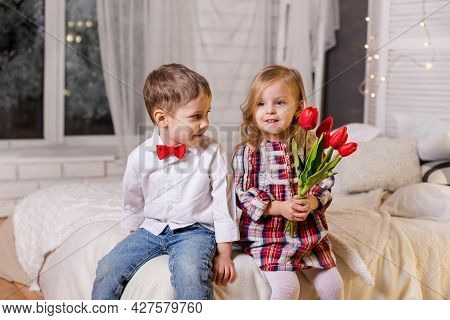Portrait Of Smiling Boy And Cute Girl. Friendship And Love. Happy Children In Casual Clothes. Cute S