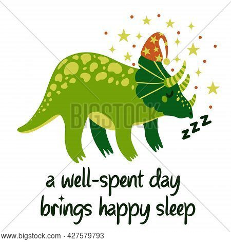 Cute Cartoon Dinosaur Vector Illustration. Green Triceratops On A White Background Sleeps In A Night