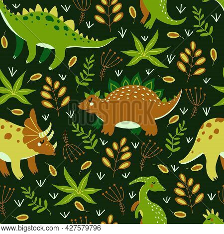 Cute Cartoon Dinosaurs Seamless Vector Pattern. Colorful Reptiles From The Jurassic Period Walk Thro