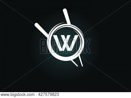 Initial W Monogram Alphabet In The Abstract Circle With Chopstick. Abstract Asian Sushi Bar Emblem.