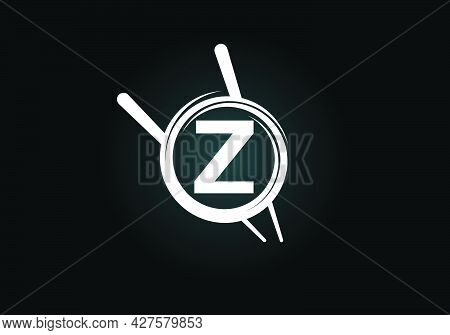 Initial Z Monogram Alphabet In The Abstract Circle With Chopstick. Abstract Asian Sushi Bar Emblem.