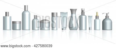 Set Of Realistic Cosmetic Bottle Isolated Or Cosmetic Package White Mock Up Or Realistic Mock Up Bea