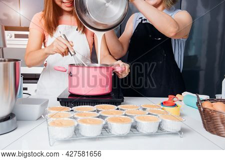 Beautiful Woman Cooking Whisk Dough In Bowl Manual By Hands At Homemade
