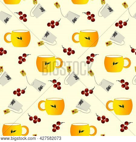 Pattern With A Yellow Cup, Red Berries And A Tea Bag. Vector Illustration. For Menus, Cafes, Wrappin