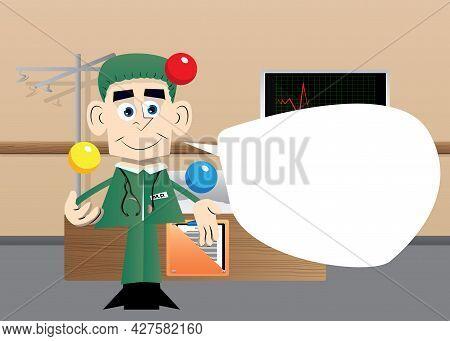 Funny Cartoon Doctor Juggler. Vector Illustration. Funny Health Care Worker.
