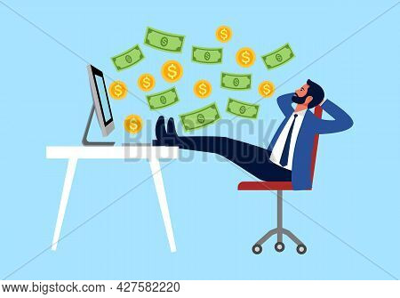 Success Businessman With Passive Income Concept Vector Illustration. Businessman Sitting In Office A