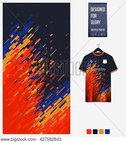 Soccer Jersey Pattern Design. Abstract Pattern On Colorful Background For Soccer Kit, Football Kit,