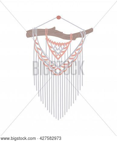 Diy Macrame Wall Hanging. Knitting In Boho Style From Cotton Cord, Original Decoration. Flat Style,