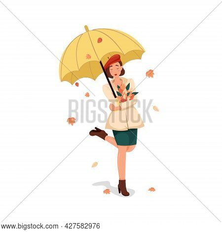 Girl In A Coat And A Red Beret Stands Under A Yellow Umbrella, Happy Woman Enjoys An Autumn Walk, Ve
