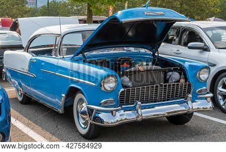 Homestead, Pennsylvania, Usa July 21, 2021 A Two Toned Blue And White 1955 Chevrolet Bel Air Coupe W