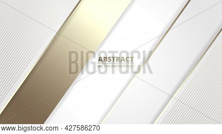 White Elegant Realistic Luxury Design Background With Golden Lines And Shadows. White And Gold Luxur