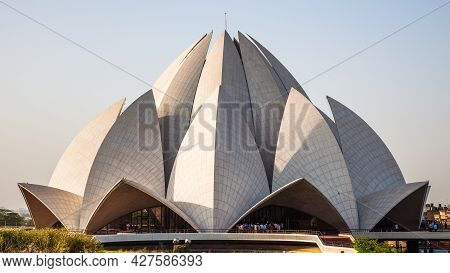 New Delhi, Delhi, India - March 27, 2011: The Famous Bahai Lotus Temple In New Delhi, India
