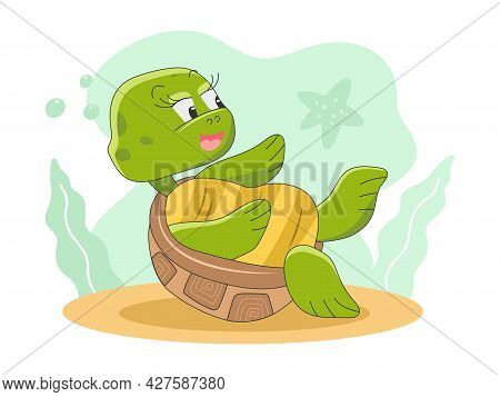 Cute Turtle Lies On Back And Looks At The Starfish. Vector Illustration, Icon In Cartoon Style Isola