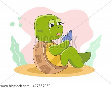 Cute Turtle Sitting And Reading A Book Vector Illustration Icon In Cartoon Style Isolated On Backgro