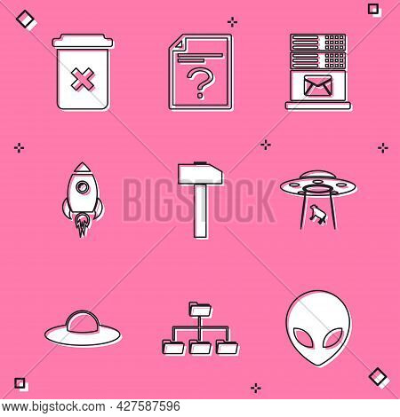 Set Trash Can, Unknown Document, Mail Server, Rocket Ship With Fire, Hammer And Ufo Abducts Cow Icon