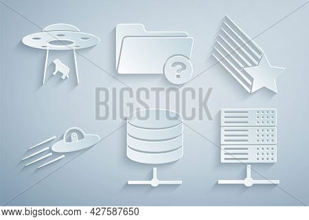 Set Server, Data, Web Hosting, Falling Star, Ufo Flying Spaceship And Alien, , Unknown Directory And