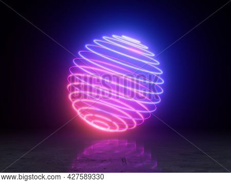 Bright neon ball made of circles with reflection, 3D illustration, rendering.