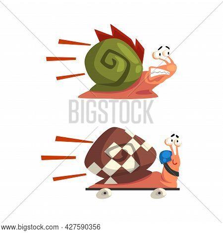 Set Of Funny Fast Snails, Amusing Mollusk Characters On Wheels Cartoon Vector Illustration