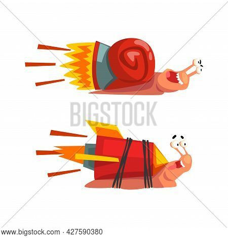 Set Of Funny Fast Snails, Amusing Mollusk Characters With Turbo Rocket Speed Booster Cartoon Vector