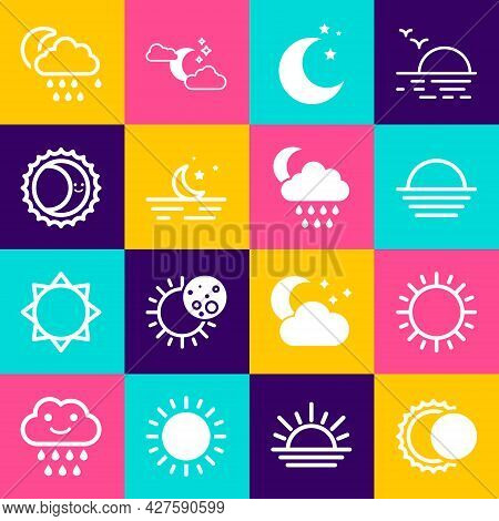 Set Eclipse Of The Sun, Sun, Sunset, Moon And Stars, Cloud With Rain Moon And Icon. Vector