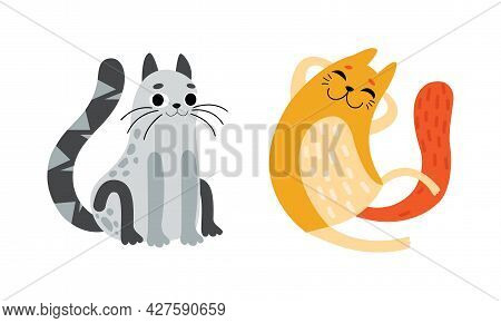 Cute Bright Whiskered Cat As Furry Domestic Pet Vector Set