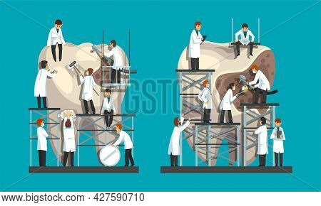 Man Dentist In White Coat Treating And Cleaning Huge Tooth With Dental Caries Vector Set