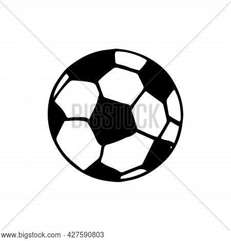 Ball For Football. Hand Drawn Doodle Icon. Vector, Scandinavian, Nordic, Minimalism, Monochrome Spor